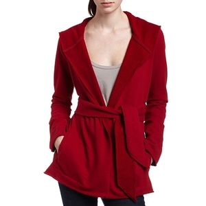 Lucky Brand Jingo Hooded Wrap Sweatshirt Red L